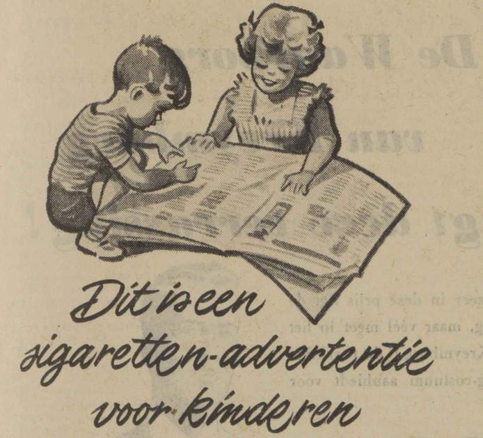 Oproep aan kinderen om op Vaderdag sigaretten te kopen voor vader (1953).