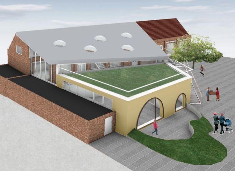 De nieuwe kleuterblok van De Sterrebloem met groendak wordt volgend schooljaar al gebouwd.