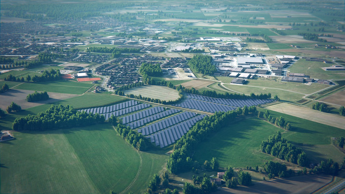 Een impressie van het zonnepark Waterlanden bij Goor. Linksboven de nieuwe wijk Heeckeren, waar een buurtcomité is gevormd dat zich tegen de 37.000 zonnepanelen verzet. Artist Impressie solarfields.