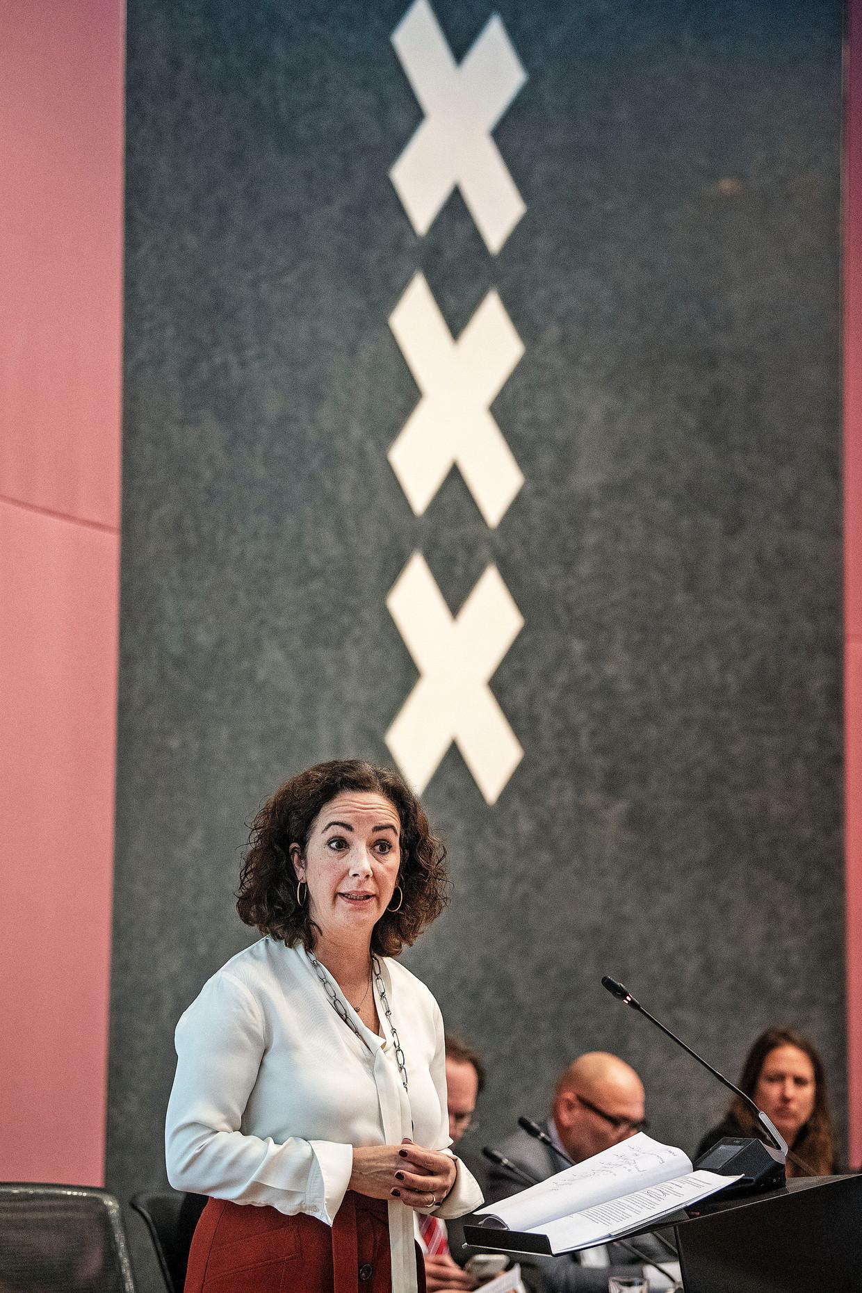 Burgemeester Femke Halsema in de Amsterdamse gemeenteraad.