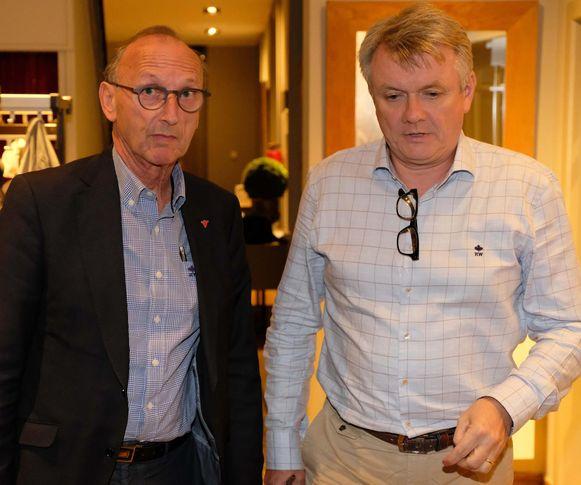 Frank Bogaerts en N-VA-voorzitter Toon Vaessens net ze de onderhandelingen aanvatten.