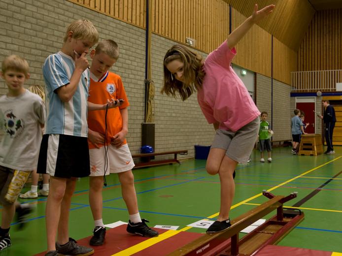 Leerlingen van De Wetelaar in Doesburg aan het werk tijdens de fittest in 2009.