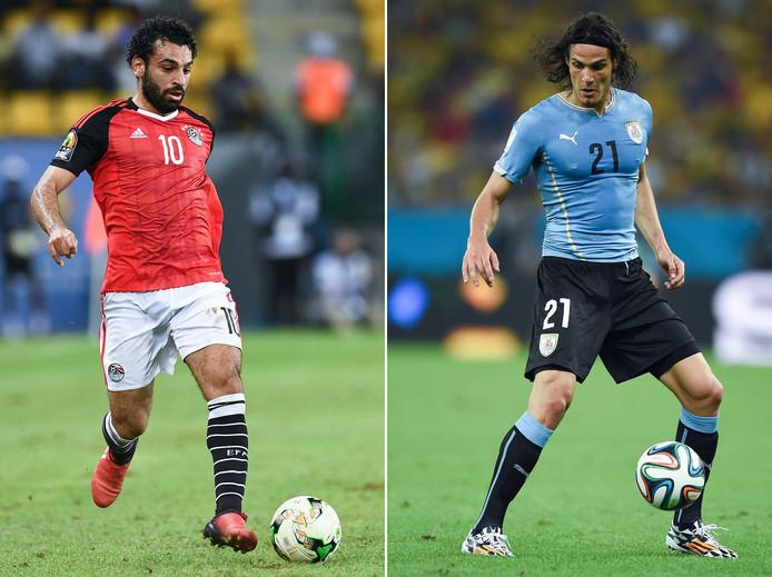 Mohamed Salah links) en Uruguay-spits Edinson Cavani.
