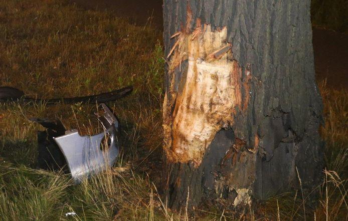 Bestuurder knalt met auto tegen boom in Biezenmortel.