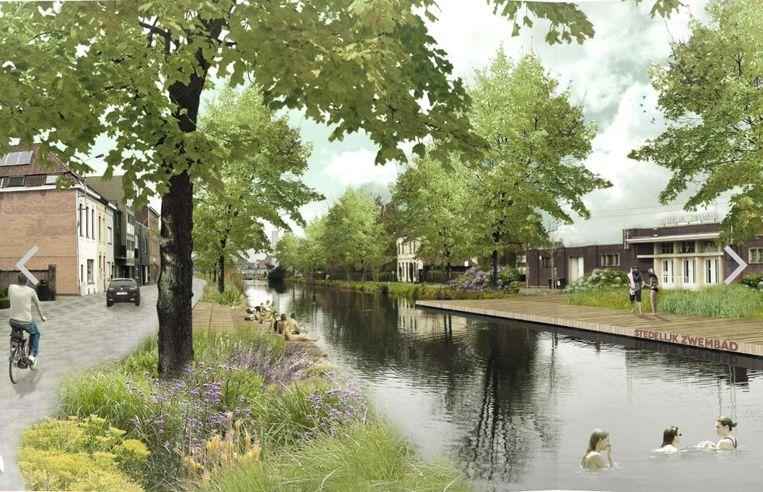 Het kanaal, nabij het beschermde openluchtzwembad in de Abdijkaai in Kortrijk, wordt mogelijk ingericht als een waterpark, met zwemzone.