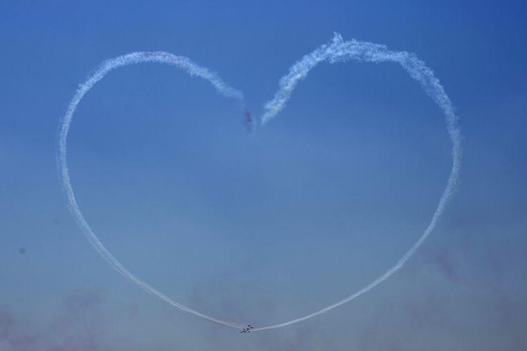 Een eerbetoon van de Egyptische luchtmacht. Beeld ap
