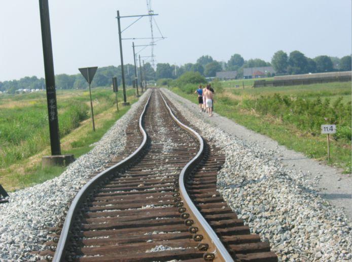 De knik in het spoor bij Zwammerdam, waar 30 juni 2006 een trein ontspoorde.