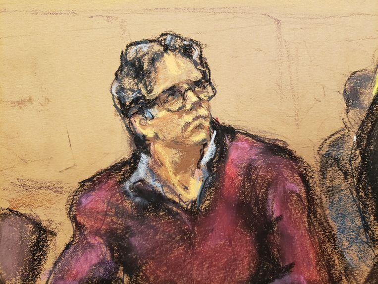Een rechtbanktekenaar maakte deze tekening van beklaagde Keith Raniere.