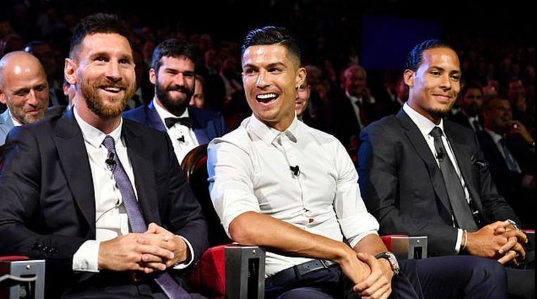 Messi, Ronaldo en Van Dijk gisteravond tijdens de Champions League-loting in Monaco.