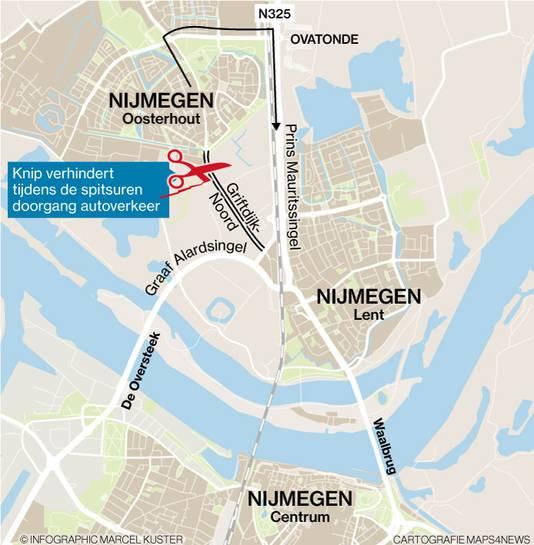 De Grifdijk is een populaire sluiproute voor het verkeer.