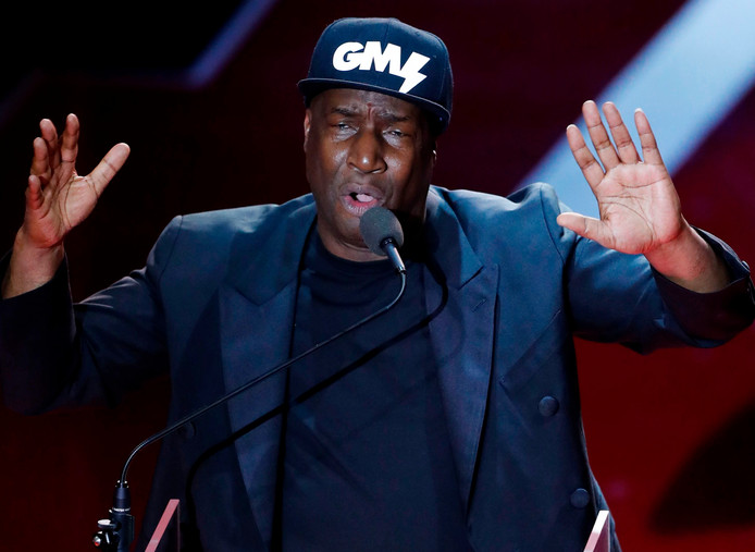 Polar prize winner US hip hop recording artist and DJ Grandmaster Flash speaks during the price ceremony at the Grand Hotel in Stockholm on June 11, 2019. (Photo by Christine Olsson / TT News Agency / AFP) / Sweden OUT