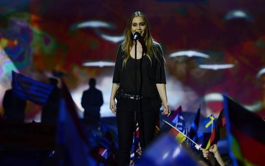 Anouk tijdens het Eurovisie Songfestival 2013 in het Zweedse Malmö.