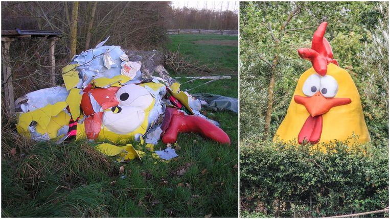 De kip die het oerei van het kunstwerk 'Coming World Remember Me' op De Palingbeek in de gaten hield, overleefde storm Ciara niet.