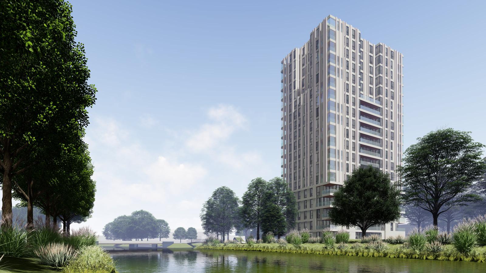 Artist's impression van de 60 meter hoge woontoren die op het terrein van het voormalig ROC-gebouw aan de Zangvogelweg moet verrijzen.