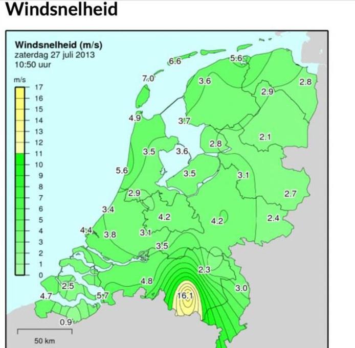 Kaart met windsnelheden.
