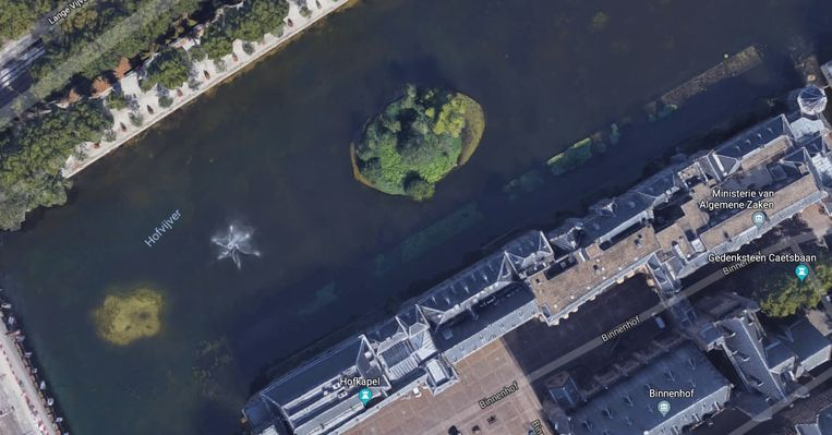 Eén van de twee eilanden in de Hofvijver. Beeld Google Maps
