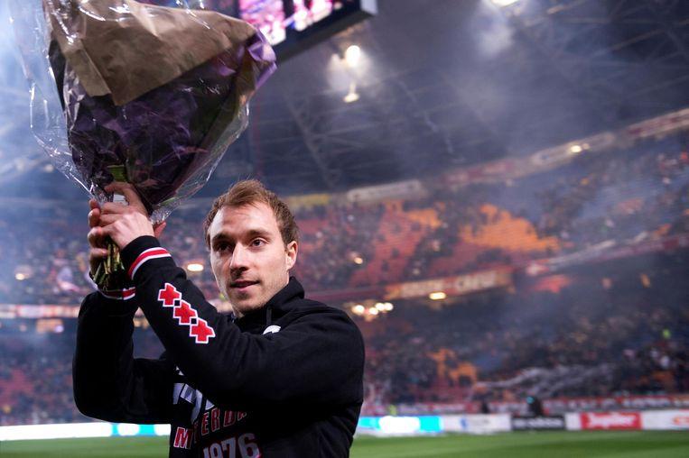 2014: Eriksen neemt afscheid van het Amsterdamse publiek. Hij vertrok dat jaar naar Tottenham Beeld anp
