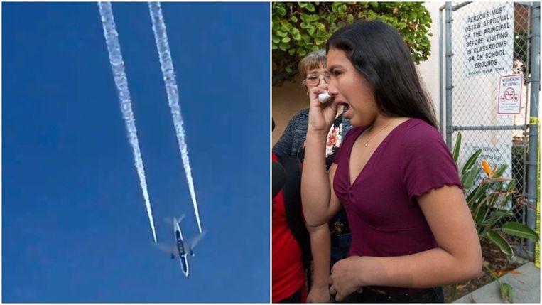 Links: Delta Airlines vlucht 89 dumpt kerosine boven Los Angeles. Rechts: een vrouw heeft last van huid- en of oogirritaties door het contact met de brandstof.