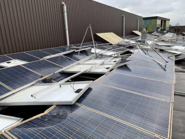 Beschadigde zonnepanelen in Buggenhout.