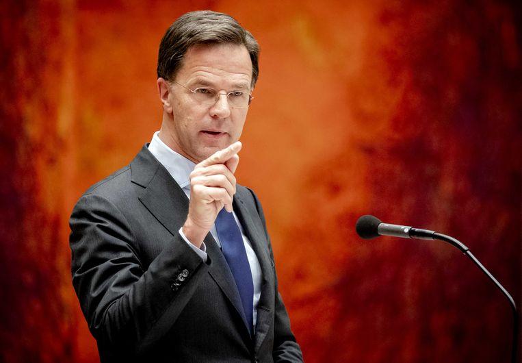 Premier Mark Rutte tijdens het debat in de Tweede Kamer over de bestrijding van het coronavirus.  Beeld ANP