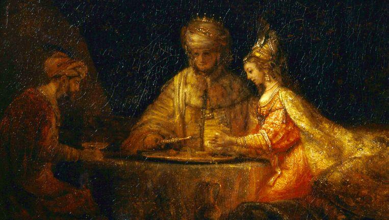Fragment uit 'Ahasveros en Haman aan het feestmaal van Esther' van Rembrandt van Rijn. Beeld Wikimedia