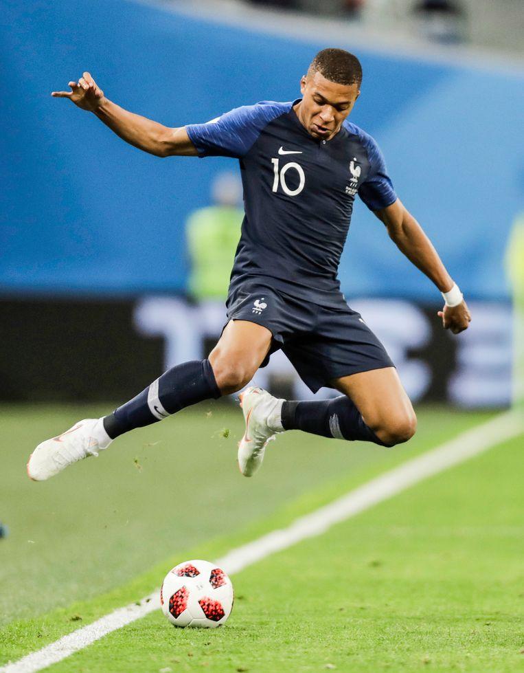Mbappé in de halve finale van het WK tegen België. Beeld null