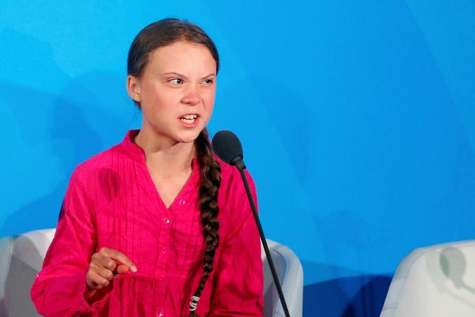 Greta Thunberg tijdens een klimaatconferentie van de VN.