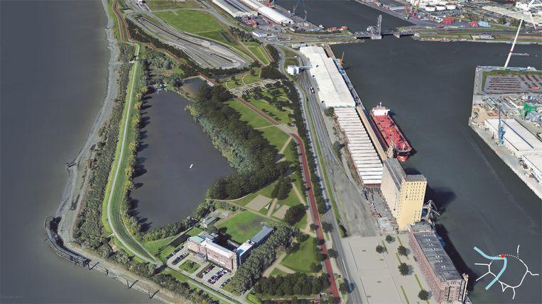 De toekomstige situatie aan het Noordkasteel: helemaal bovenaan zie je de half verzonken Oosterweelknoop, links onderaan de Zeevaartschool en rechts onder de SAMGA-site