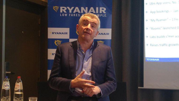 Ryanair-topman O'Leary dinsdagmiddag in Eindhoven. Beeld Herman Stil
