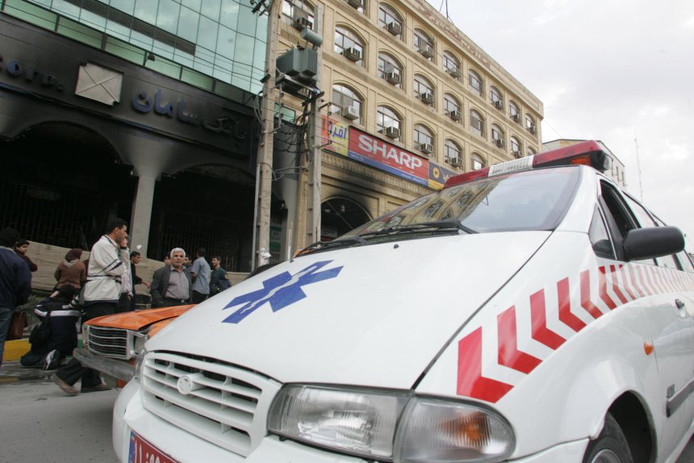 Een ambulance in Teheran.