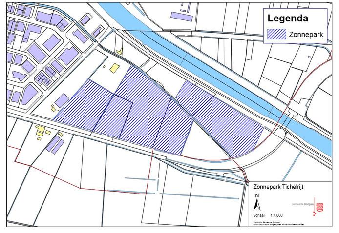 Het zonnepark op Ticherijt wordt negen voetbalvelden groot en telt 40.000 zonnepanelen. De weg rechts betreft de Vierbundersweg die over het Wilhelminakanaal gaat.