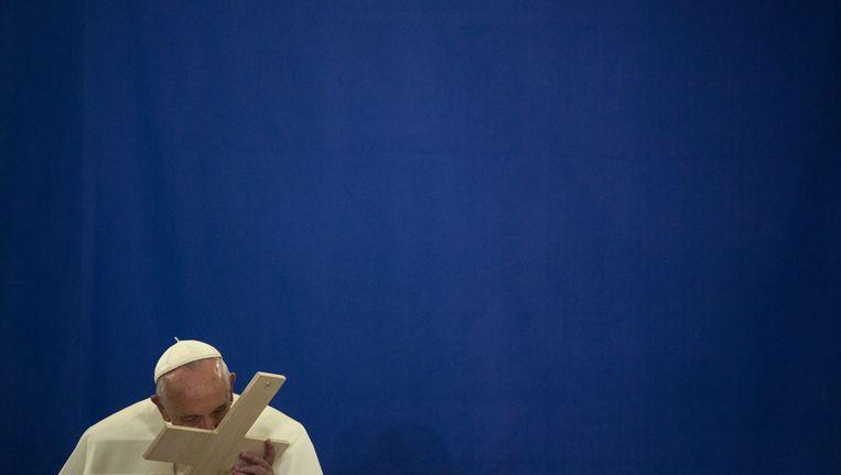 Paus Franciscus hier in New York, tijdens zijn bezoek aan Amerika vorig jaar. Beeld Epa