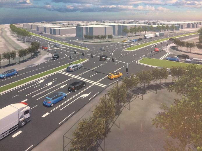 Nu is dit nog een rotonde, zo zou het kruispunt Wilhelminastraat-N264 eruit kunnen komen zien volgens de provincie. Die gaat uit van het oplossen van knelpunten in de N264, vooralsnog niet van een verlengde snelweg A77.