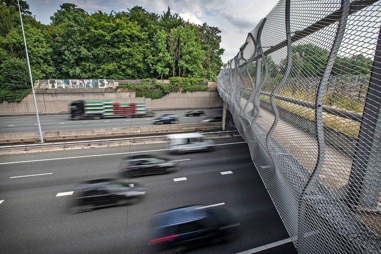 Verkeer raast over de A27 bij Amelisweerd, de rechter verbood de verbreding van deze snelweg op dit punt. Stikstof is het argument. Beeld Guus Dubbelman / de Volkskrant