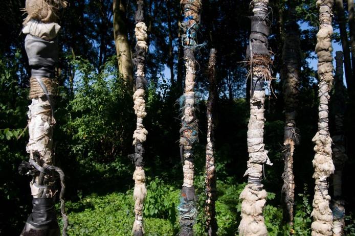 Anja Middelkoop en Carola Mokveld hebben het openingskunstwerk gemaakt. Eerder ruimden zij het bosje op en kwamen ze veel troep tegen. Die hebben ze verwerkt. De stokken zouden kunnen staan voor de kunstenaars of voor de 12 dorpen van de gemeente.