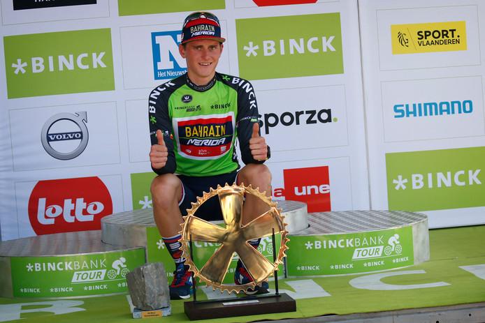 Matej Mohoric was in 2018 de winnaar van de BinckBank Tour. De ronde doet maandag volop de gemeente Hulst aan.