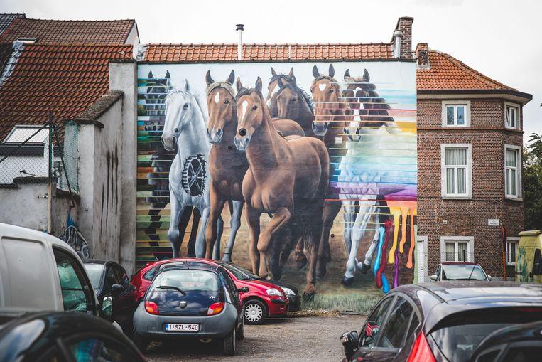 Paarden aan de Dampoort, naast de electriciteitscentrale