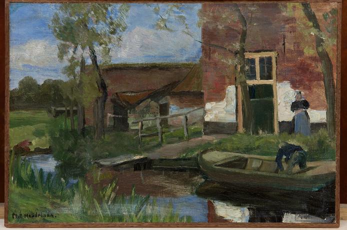 Piet Mondriaan, Boerderij bij kanaal met kleine boot, 1900