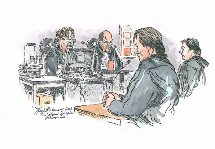 Rechtbanktekening van de Puttense moordzaak.