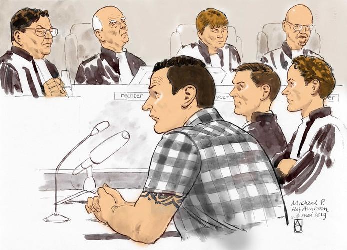 Rechtbanktekening van Michael P., dinsdag tijens het hoger beroep