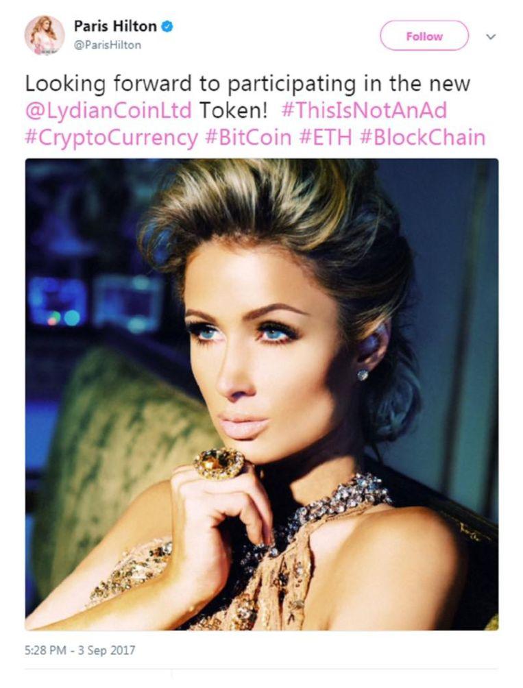 De inmiddels verwijderde tweet van Paris Hilton over LydianCoin. Beeld