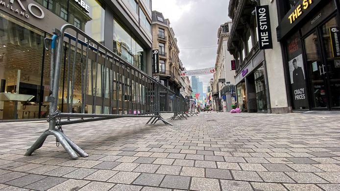 La rue Neuve à Bruxelles, déserte, le 2 novembre dernier.
