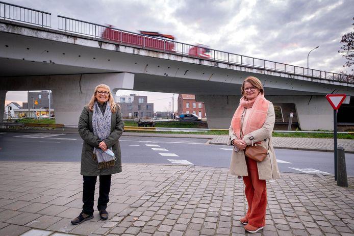 Hilde Lauwers en Myriam Publie van Team Battel vragen geluidsschermen op het Battelcomplex.
