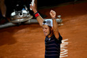 Argentina's Diego Schwartzman celebrates after defeating Spain's Rafael Nadal in their quarter final match of the Men's Italian Open at Foro Italico on September 19, 2020 in Rome, Italy. (Photo by Riccardo Antimiani / POOL / AFP)
