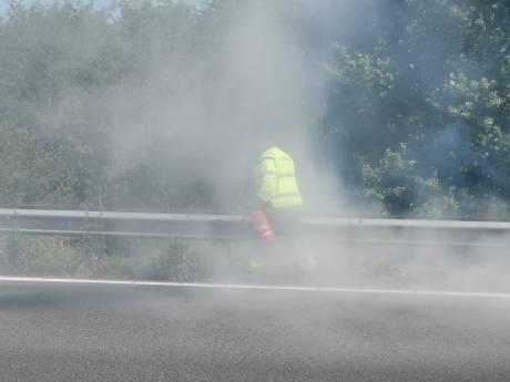 Flinke rookontwikkeling bij bermbrand langs snelweg in Ede