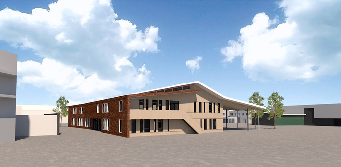 Zo ongeveer komt de nieuwe school Brinck-Bluyssen eruit te zien. Links ligt de bestaande sporthal. De overkapping kijkt uit op het schoolplein.