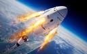 Een illustratie van de Crew Dragon tijdens een ontsnappingsoefening. Als er vanavond iets misgaat met de lancering dan kan de capsule zich als een schietstoel van de raket scheiden.