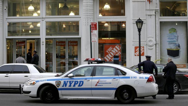 Het filiaal van Home Depot in Manhattan waar de schietpartij plaatsvond. Beeld ap