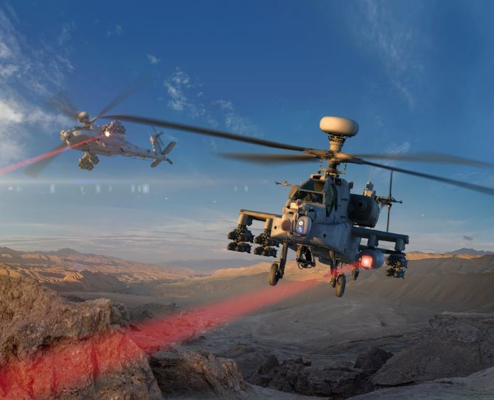 De Apache met zijn laserwapen (simulatiebeeld).