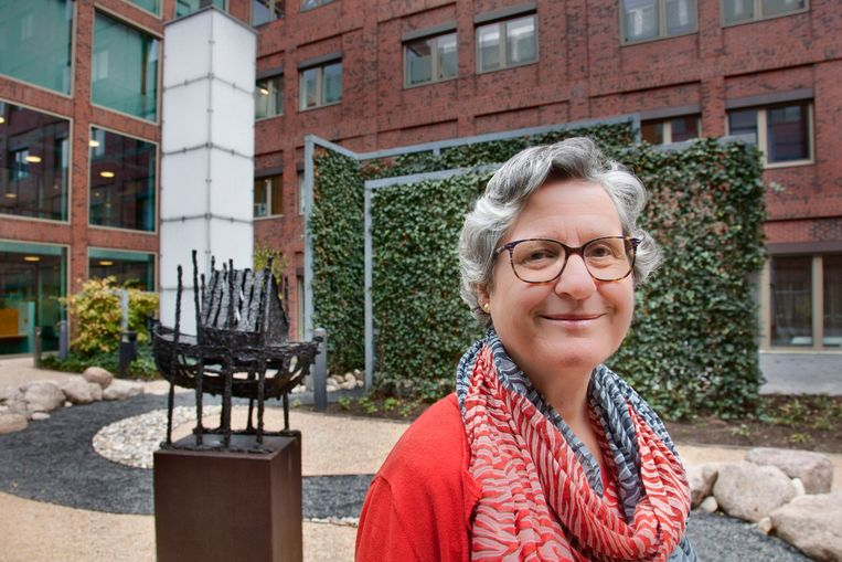Geestelijk verzorger Desiree van der Hijden in de vernieuwde tuin van het Maasstadziekenhuis. Beeld Otto Snoek